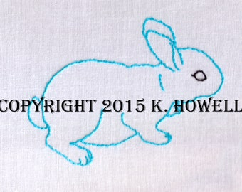 Bunny Hand Embroidery Pattern, Rabbit, Easter, Cute, PDF