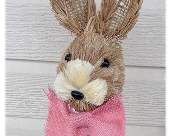 Easter Decoration Shabby Chic Sisal Easter Bunny Pick for Easter wreath or Flower arrangement Easter Ornament Easter decoration