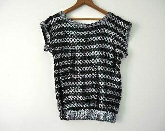70s Knit Sequin Cap Sleeve Top M L