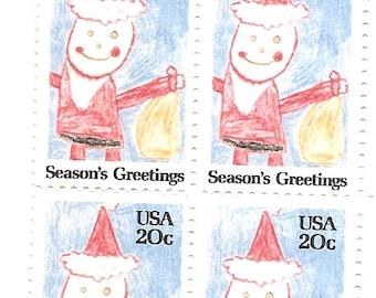 ... Block of 6 - 20 Cent US Postage Stamp Seasons Greetings Santa Stamp