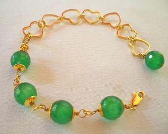 Gold Plated Green Agate  Bracelets