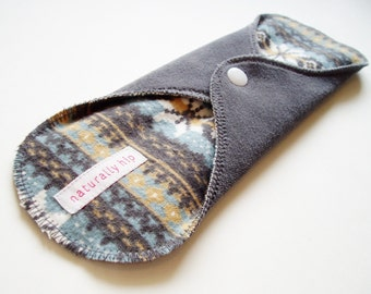 "10.5"" Cotton Velour Heavy Cloth Menstrual Pad - Gray Grey Blue Fair Isle Print - Cloth Sanpro - Incontinence Pad - Heavy Night Pad"