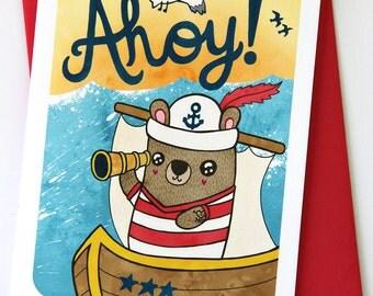 Ahoy Bear - Hello Notecard Greeting Card