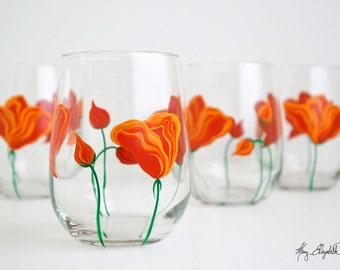 Orange California Poppies Stemless Wine Glasses - Mothers Day Gift - Set of 4 Poppy Glasses, Poppy Wine Glasses, Poppy Glassware