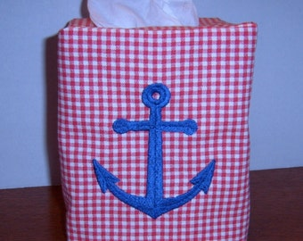 Red Gingham NAUTICAL Tissue Box Cover - EMBROIDERED ANCHOR