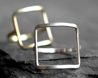 modern square ring gold silver square ring modern ring cocktail ring minimalist brass simple sterling big square large gold ring SQUARE RING