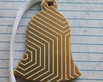 10 Handmade Bell shaped gold metallic paper over chipboard Christmas Hang Tags