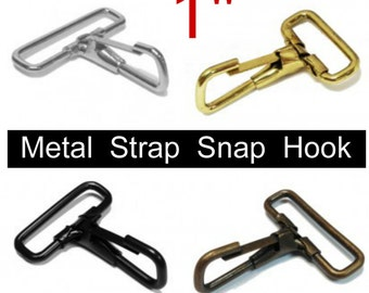 """10 PIECES - 1"""" - Metal Strap Snap Hooks - for 1 inch wide webbing - Your Choice of Finish"""