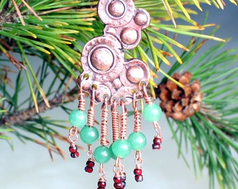 Christmas Tree Decoration , Copper Tree Ornament , Rustic Christmas Decor , One of a Kind
