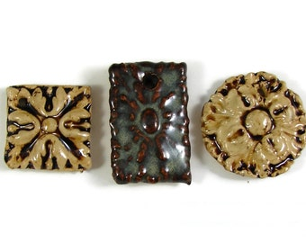 3 Focal Bead Pendants for the price of 1 - Rustic Handmade Ceramic Clay Stoneware Pottery - Ready to Ship