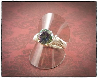 Mystic Topaz Ring Size 8 Ring Sterling Silver Ring Wire Wrapped Ring Gemstone Ring Birthstone Ring Solitaire Ring SilverTrove - IN STOCK