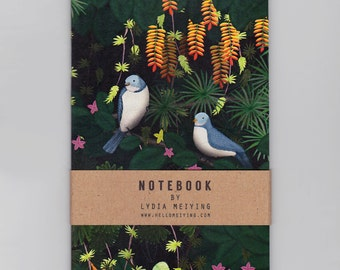 A6 Mini Notebook - Jungle Birds - illustrated jungle cover with plain pages