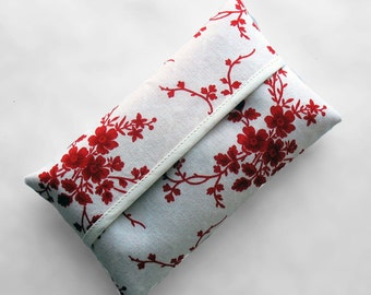 Tissue Holder - Red on White Floral
