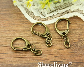 6pcs 52x19mm Antique Bronze Clasp for Key Ring With Strong Chain