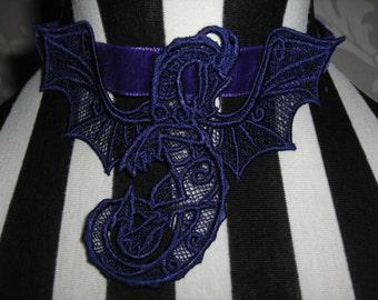 Handmade Purple Dragon Embroidered Lace Choker