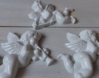Vintage foam angels white wall hanging shabby cottage chic 3 pieces