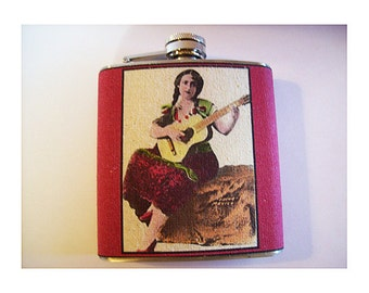 retro senorita flask vintage pin up girl Mexico guitar photo rockabilly kitsch