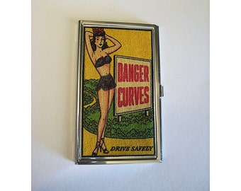 pin up girl business card holder retro vintage 1950's burlesque rockabilly ID tote kitsch
