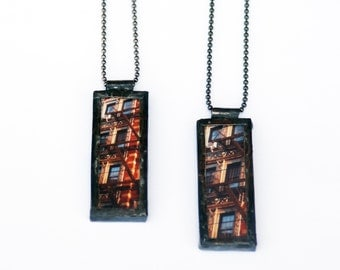 NYC PHOTO PENDANT - East Village Tenement Red