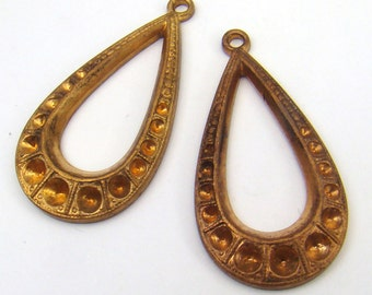 Brass teardrop earring charms, long loop components with spots for rhinestones, vintage pendants stampings 34mm, 2 pcs
