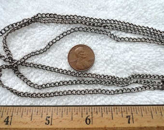 10 Feet of Vintage Steel Chain, 3mm x 4mm