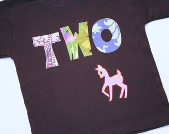 Girls Deer TWO Shirt for 2nd Birthday - 2t Long Sleeve Navy Blue Purple Pink Green Pastel
