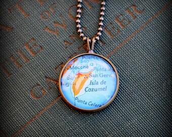 Cozumel Map Necklace - Custom Handmade Pendant - Charm Jewelry - Gift - Wanderlust - Mexico - Vacation Travel Jewelry