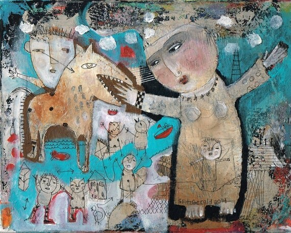 Mixed Media Painting Original Modern Folk Art Expressive