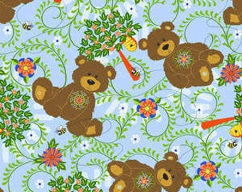 1/2 Yard Laminated Cotton Fabric - Mystic Forest - Sky Bears Trees 338-25961 - BPA and PVC Free