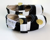 Baby girl Shoes Mary Jane Black and White and Gold Stripes Dots Maryjane Newborn Velcro Strap Booties Soft Sole Non Slip Slippers SWAG  Gift
