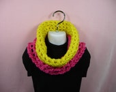 KIDS COWL SCARF Girls Hot Pink Yellow Child Infinity Circle Bright Colors Soft Warm