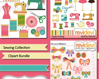 Sewing Clip art Bundle - sewing machine, thread, buttons, scissor, ribbon, hobby clipart - digital clipart graphic, commercial use