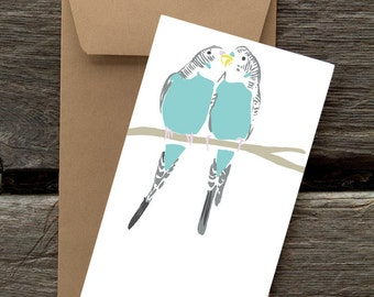 Two Parakeets - 8 Blank flat cards and envelopes