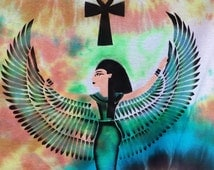 Isis T-Shirt Tie Dyed and Airbrushed Goddess with Black Turqoise Terra Cotta Bohemian Gypsy Hippie size X Large