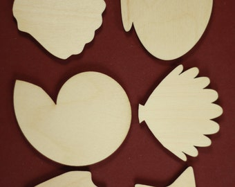 Sea Shell Shape Unfinished Wood Laser Cut Shapes Crafts Sold in lots of 6