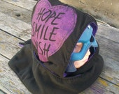 Upcycled Hope Smile Wish Shirt Fleece Hooded Scarf Scoodie OOAK Ready To Ship