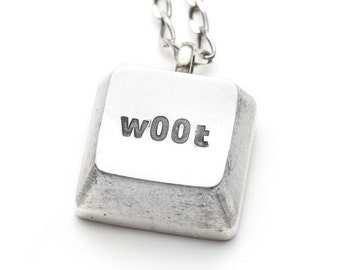SALE  -  Geekery - Silver necklace w00t keyboard key - cyberintellect