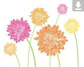 Art Print, Flower, Dahlia, Garden, Bloom, Printable, Digital File, Instant Download, Botanical, Stems, Green, Pink, Orange, Yellow, 8x10