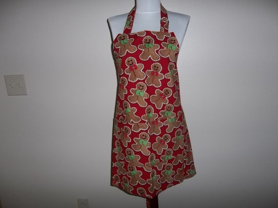 Apron Christmas Apron Reversible Full Gingerbread Men Cookies on Red Background
