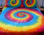 Duvet Cover Tie Dyed in Bright Rainbow Full/Queen Size