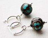 Silver Dangle Hoop Earrings handmade Lampwork Glass Beads Biba Style