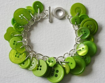 Button Bracelet Tropical Lime Green