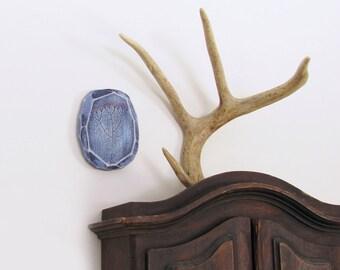 Modern Wood Wall Art, Modern Pyrography, Blue Umbel, Colorful Geometric Art, Faceted Wood, Wood Burning, Modern Nature Art