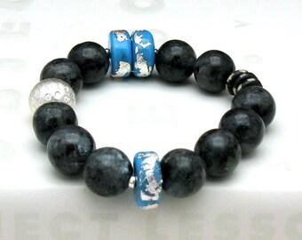 Blue Gray Larvikite Modern Beaded Bracelet, Designer Silver Frit Lampwork, Urban, For Her Under 350