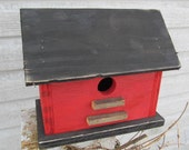 Primitive Red & Black Birdhouse with Tobacco Lath Steps