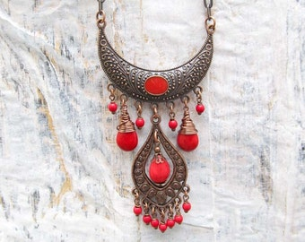 red statement necklace Copper Bib necklace Bohemian Jewelry