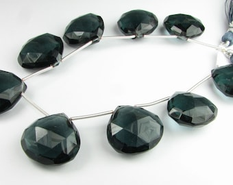 Charcoal Gray Grey Quartz Faceted Heart Large Gemstone Beads 21mm Focal Bead (1 gem)