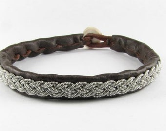 Brown Sami Bracelet - Leather Wrap Tin Metal Thread Braided Bracelet with Reindeer Leather and Antler Button Clasp