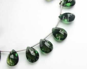 Dark Green Quartz Concave Pear Gemstone Briolettes 13mm - 14mm MATCHED PAIR for Earrings (2 beads)