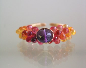 Orange Sapphire and Amethyst Ring in 14k Gold Fill, Gemstone Encrusted Wire Wrapped Ring, Size 11
